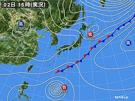 実況天気図(2018年10月02日)