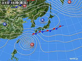 実況天気図(2018年10月04日)