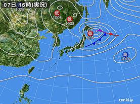 実況天気図(2018年10月07日)