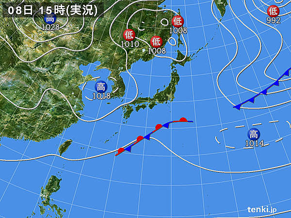 実況天気図(2018年10月08日)