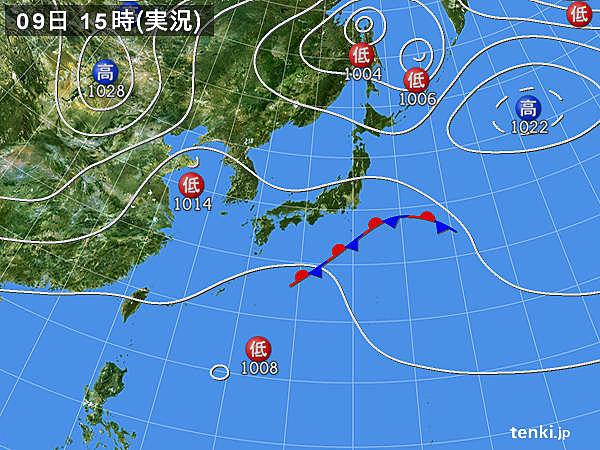 実況天気図(2018年10月09日)