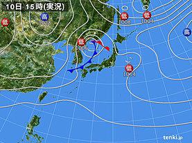 実況天気図(2018年10月10日)
