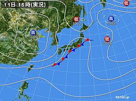 実況天気図(2018年10月11日)