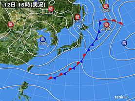 実況天気図(2018年10月12日)