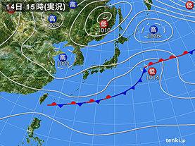 実況天気図(2018年10月14日)