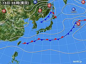 実況天気図(2018年10月15日)