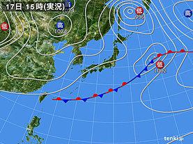 実況天気図(2018年10月17日)