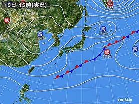 実況天気図(2018年10月19日)
