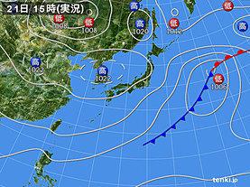 実況天気図(2018年10月21日)