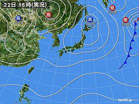 実況天気図(2018年10月22日)