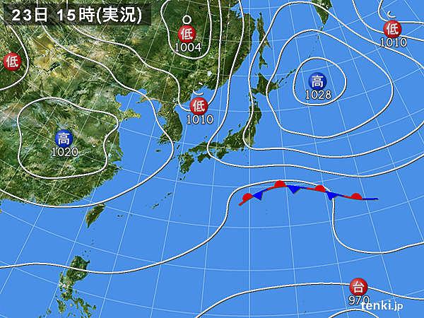 実況天気図(2018年10月23日)