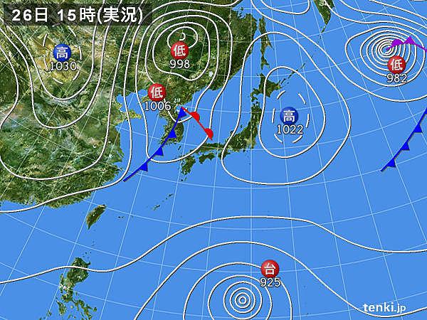 実況天気図(2018年10月26日)