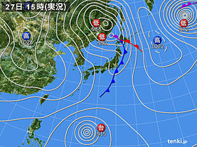 実況天気図(2018年10月27日)