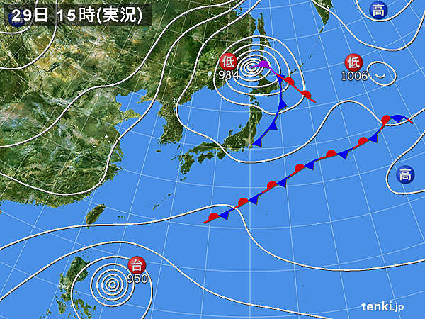 実況天気図(2018年10月29日)