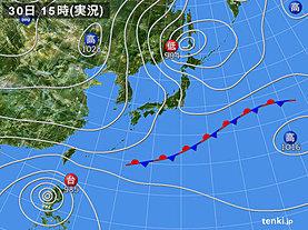 実況天気図(2018年10月30日)