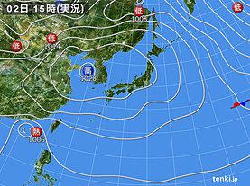 実況天気図(2018年11月02日)