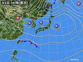 実況天気図(2018年11月03日)