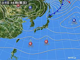実況天気図(2018年11月04日)