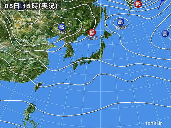 実況天気図(2018年11月05日)