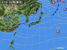 実況天気図(2018年11月07日)