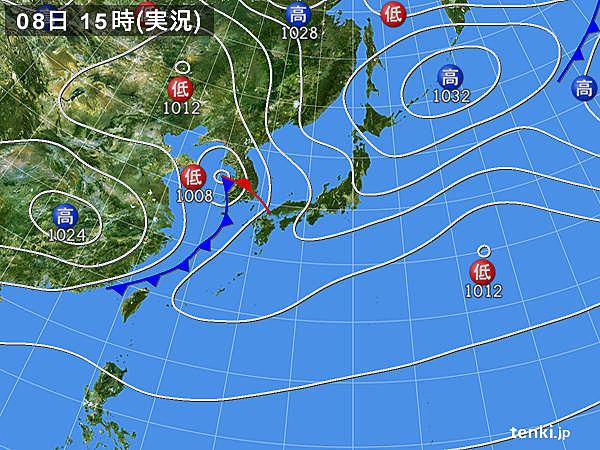 実況天気図(2018年11月08日)