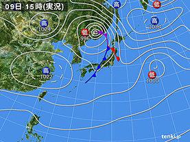 実況天気図(2018年11月09日)
