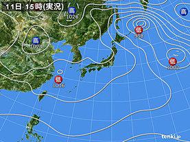 実況天気図(2018年11月11日)