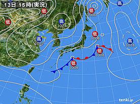 実況天気図(2018年11月13日)