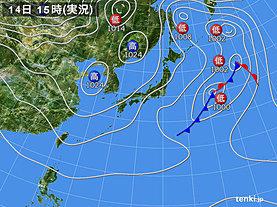 実況天気図(2018年11月14日)