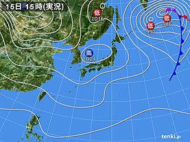 実況天気図(2018年11月15日)