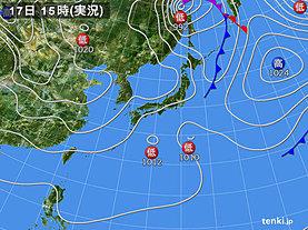 実況天気図(2018年11月17日)