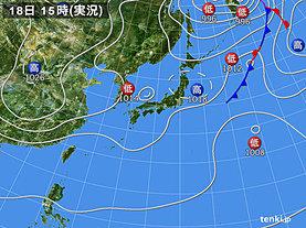 実況天気図(2018年11月18日)