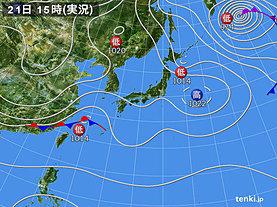 実況天気図(2018年11月21日)