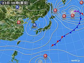 実況天気図(2018年11月23日)