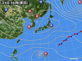 実況天気図(2018年11月24日)