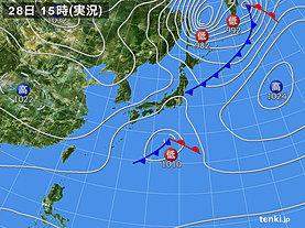 実況天気図(2018年11月28日)