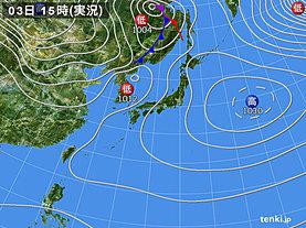 実況天気図(2018年12月03日)