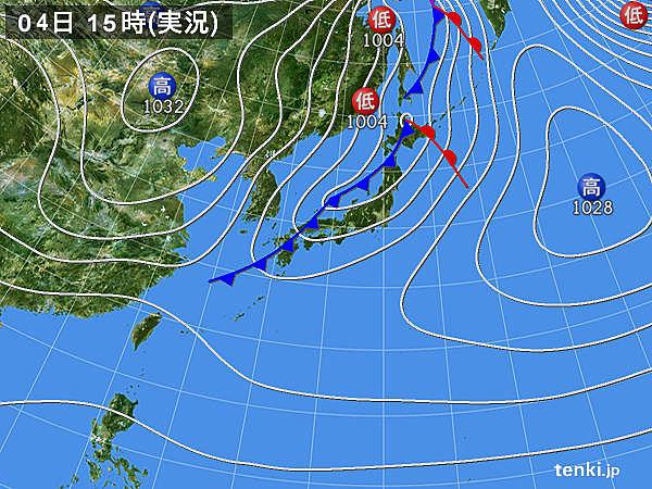 実況天気図(2018年12月04日)