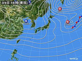 実況天気図(2018年12月09日)