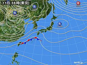 実況天気図(2018年12月11日)