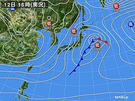 実況天気図(2018年12月12日)