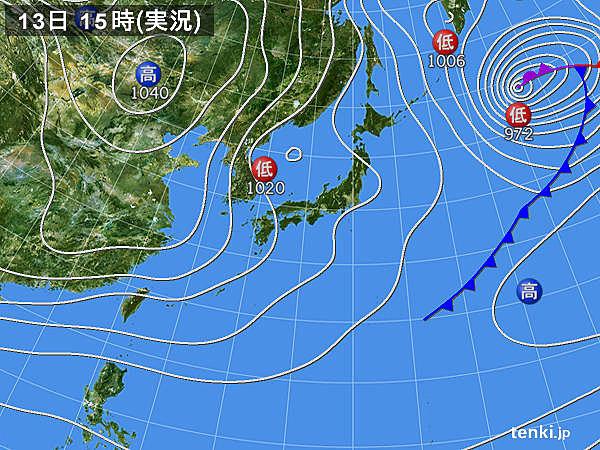 実況天気図(2018年12月13日)