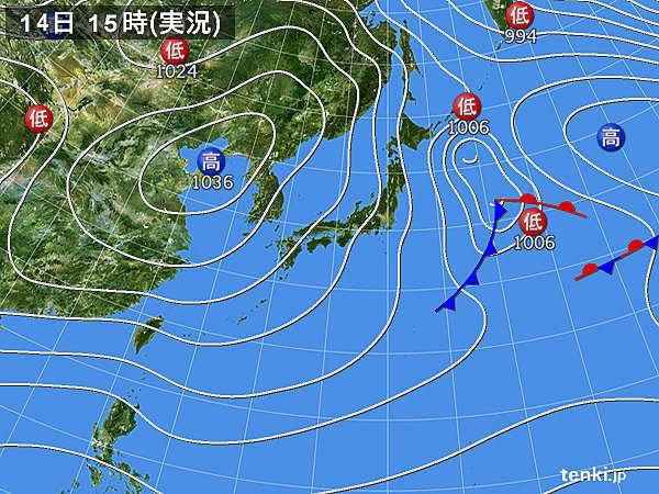 実況天気図(2018年12月14日)