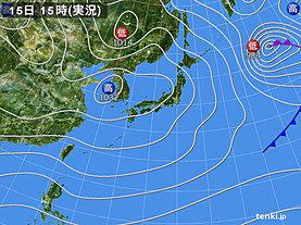 実況天気図(2018年12月15日)