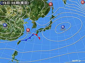 実況天気図(2018年12月16日)
