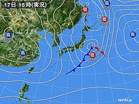 実況天気図(2018年12月17日)