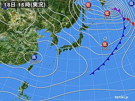 実況天気図(2018年12月18日)