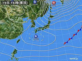 実況天気図(2018年12月19日)