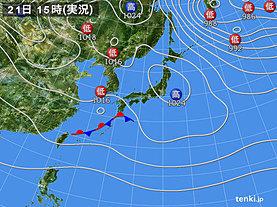 実況天気図(2018年12月21日)
