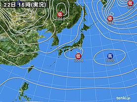 実況天気図(2018年12月22日)